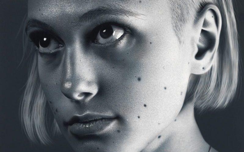 black and white photorealistic portrait